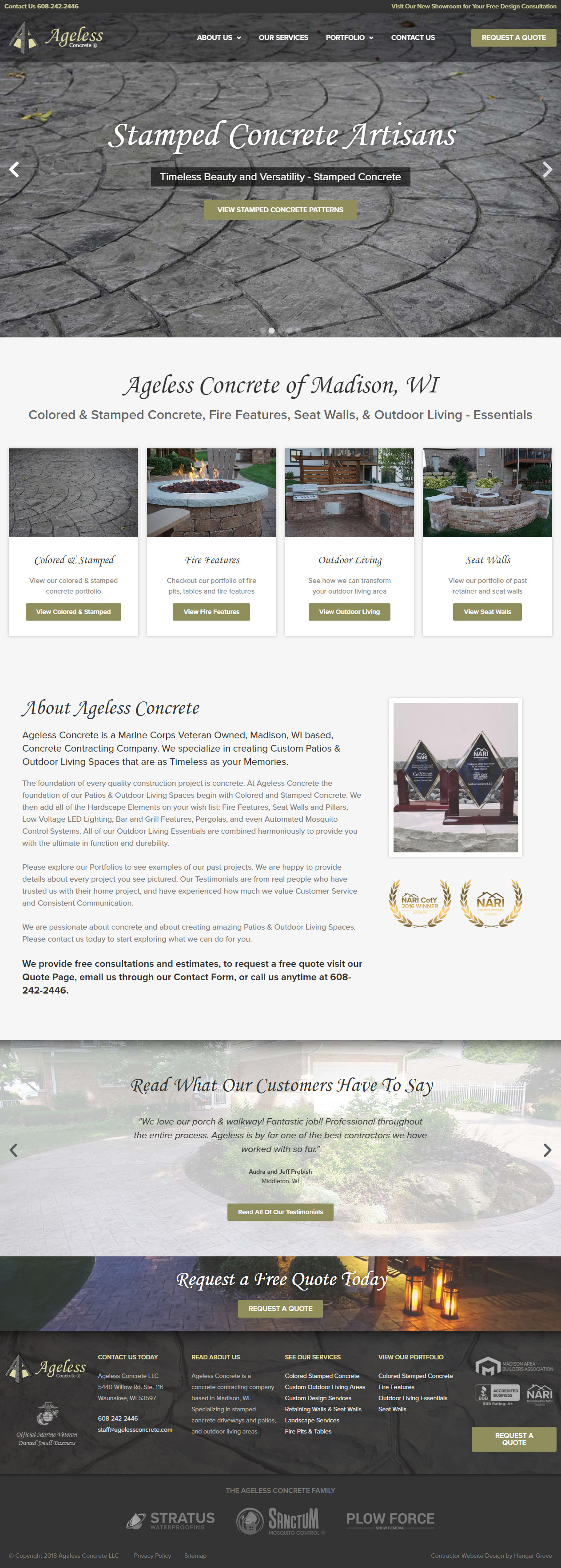 Ageless Concrete Contractor Web Design Case Study Homepage