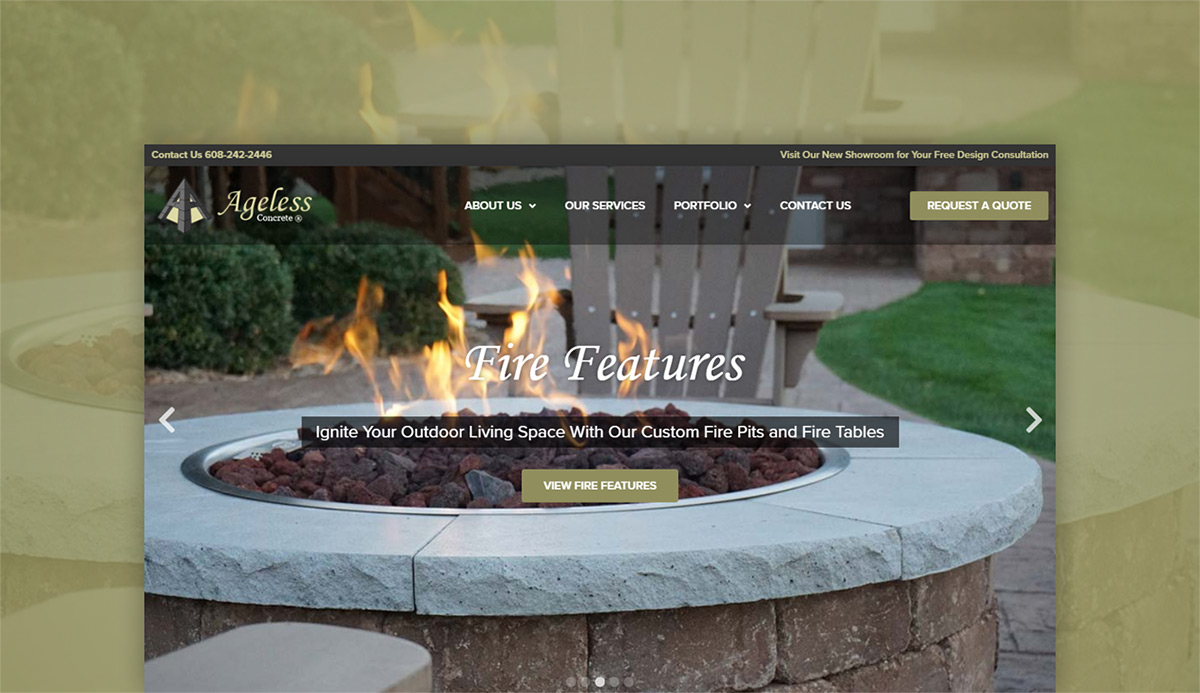 Ageless Concrete Contractor Web Design Case Study Top Image