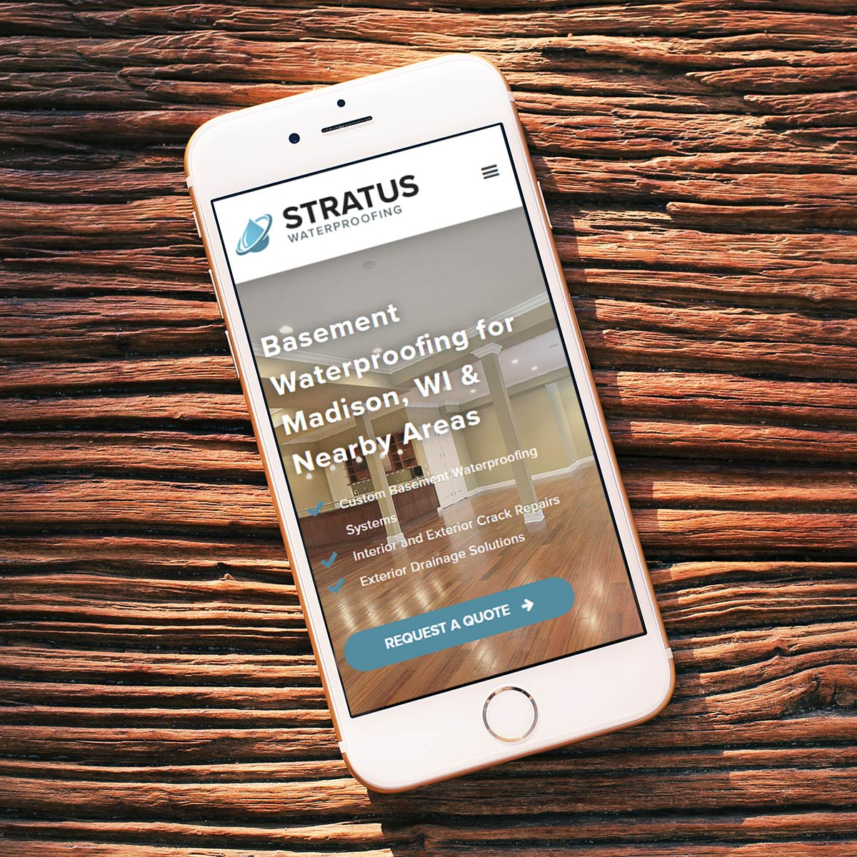 Stratus Waterproofing Mobile Website Mockup
