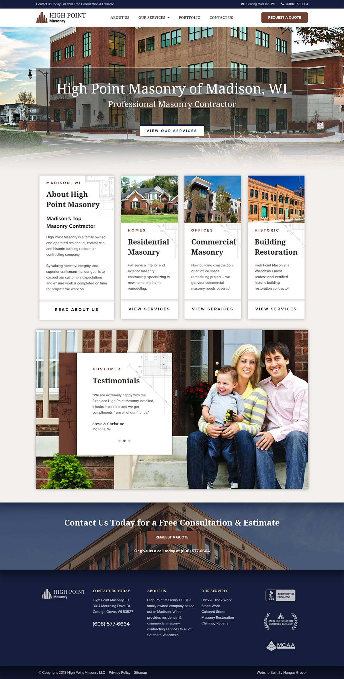 High Point Masonry Full Website Page Design